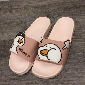 Shoes - Cartoon Print Open Toe Sliders